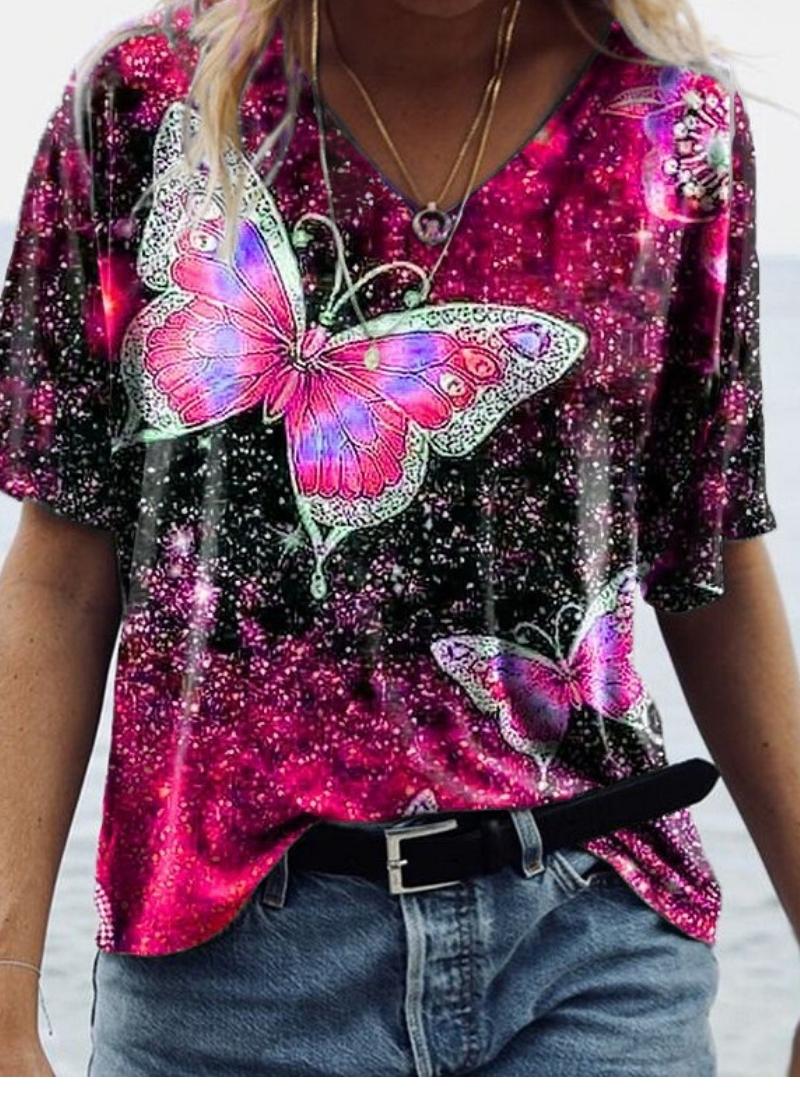 Animal Round Neckline Short Sleeve Trendy Summer A-line T-shirts p463998